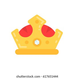 King crown vector flat icon illustration.
