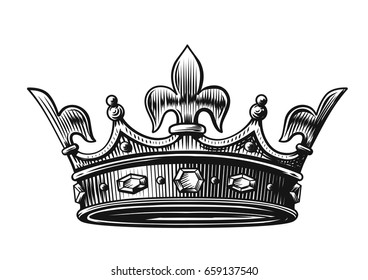 King Crown Vector Illustration hand drawn on white