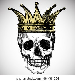 King of death. Portrait of a skull with a crown. Vector rock illustration for your fashion design.