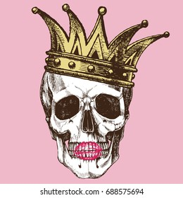 King of death. Portrait of a skull with a crown and lipstick. Vector rock illustration for your fashion design.