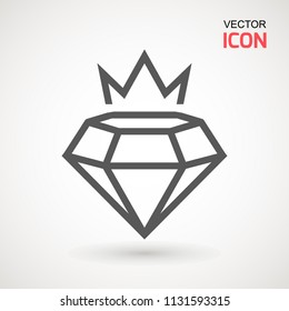 King Diamond Icon Logo. Diamond crown vector logotype. Graphic element. Silhouette simple. Silhouette simple. Jewelry symbol. Gem stone.