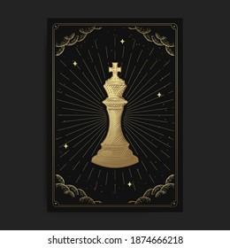 König oder Kaiser. Magische okkulte Tarot-Karten, Esoterischer BHO-spiritueller Tarot-Leser, Magic Card-Astrologie, spirituelle oder meditationsbezogene Poster.