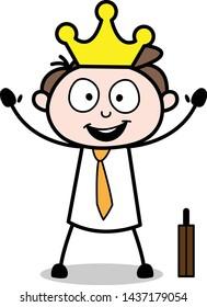 King of Employees - Office Businessman Employee Cartoon Vector Illustration