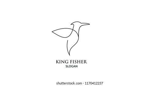 king fisher bird line logo icon designs