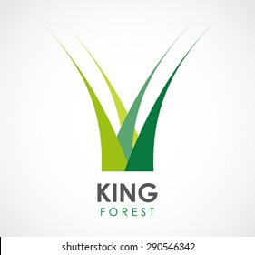 King forest grass nature logo green element symbol shape icon vector design template business abstract company crown