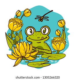 The King Is a green Frog. A Cartoon Frog Surrounded by Yellow Water Lilies on a Swamp Suitable for Children s prints on t-shirts, kids clothes, cards Vector illustration