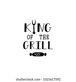 king of the grill lettering with sausage at forks. quote to design greeting card, poster, banner, printable wall art, t-shirt and other, vector illustration