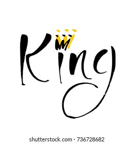 King. Hand lettering with crown. Idea for logo template. Vector illustration.