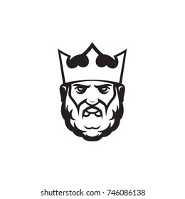 king head in crown with beard vector illustration