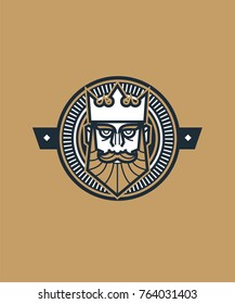 King head vector with decoration elements. Playing card