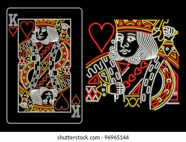 King of Hearts in neon