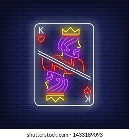King of hearts playing card neon sign. Gambling, poker, casino, game design. Night bright neon sign, colorful billboard, light banner. Vector illustration in neon style.