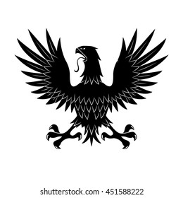 King of heaven medieval heraldic symbol of black eagle in defensive posture, showing talons with raised wings. May be use as tattoo or t-shirt print design