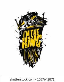 I'm the king, illustration of crown, rule, king, tshirt print, vector illustration