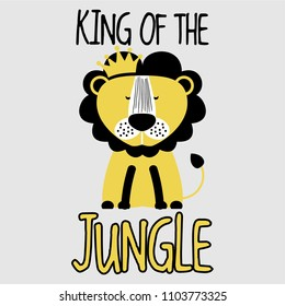 King of the Jungle LION - funny vector character drawing. Lettering poster or t-shirt textile graphic design. / Cute lion character illustration. Handwritten text.
