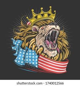 lion royal d'amérique avec vecteur d'art du drapeau usa