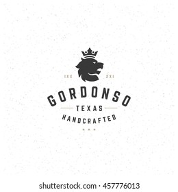 King Lion Design Element in Vintage Style for Logotype, Label, Badge and other design. Retro vector illustration.