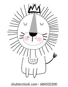 king lion hand drawing illustration vector.