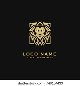 King Lion Head Logo Template, Lion Strong and Gallant Face with Bushy Hairy and Eye Glare Logo Golden Royal Premium Elegant Design, Brand Identity, Icon, Badge, Sticker, Emblem with Square Frame