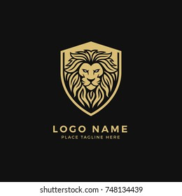 King Lion Head Logo Template, Lion Shield Strong and Gallant Face with Bushy Hair and Eye Glare Logo Golden Royal Premium Elegant Design, Brand Identity, Icon, Badge, Sticker, Emblem with Shield Frame