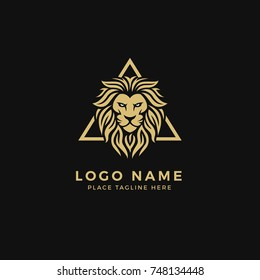 King Lion Head Logo Template, Lion Strong and Gallant Face with Bushy Hairy and Eye Glare Logo Golden Royal Premium Elegant Design, Brand Identity, Icon, Badge, Sticker, Emblem with Triangle Frame