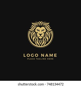 King Lion Head Logo Template, Lion Strong and Gallant Face with Bushy Hairy and Eye Glare Logo Golden Royal Premium Elegant Design, Brand Identity, Icon, Badge, Sticker, Emblem with Circle Ring Frame