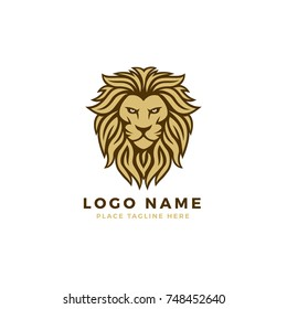 King Lion Head Logo Template, Lion Strong and Gallant Face with Bushy Hairy and Eye Glare Logo Golden Royal premium Elegant Design Template, Brand Identity, Icon, Badge, Sticker, Emblem