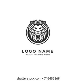 King Lion Head Logo Template, Strong Glare Lion Face. Elegant Design Badge, Sticker, Icon, Emblem, Brand Identity with Circle Ring Frame
