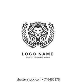 King Lion Head Logo Template, Strong Glare Lion Face. Elegant Design Badge, Sticker, Icon, Emblem, Brand Identity with Laurel Wreath Frame