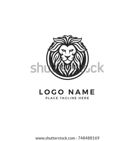 king lion head logo template strong のベクター画像素材