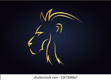 King lion head silhouette. Golden safari animal head. Wildlife vector logo. Side view of leo head