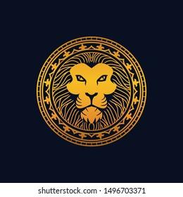 King Lion Head, Lion Strong and Gallant Face with Bushy Hairy and Eye Glare Logo Golden Royal Premium Elegant Design, Brand Identity, Icon, Badge, Sticker, Emblem