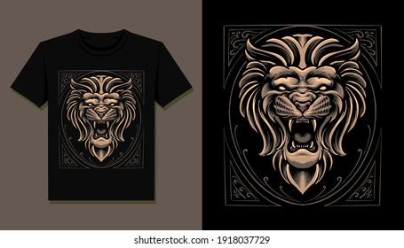 king lion head t shirt illustration