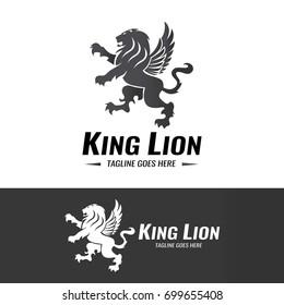 King lion logo design template. Element for the brand identity. Vector illustration