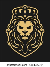 King lion in vintage style on a dark background.