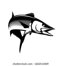 King Mackerel Logo Template, Unique mackerel fish Jump out of water, Great for Logo, boat Wrap, Decal & T shirts