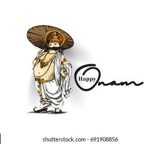 King Mahabali , Happy Onam celebration, Hand Drawn Sketch Vector illustration.