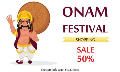 King Mahabali. Happy Onam festival in Kerala.  Vector illustration for sale