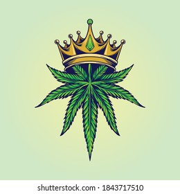 King Marijuana Logo for your work merchandise clothing line, stickers and poster, greeting advertising business company or brands