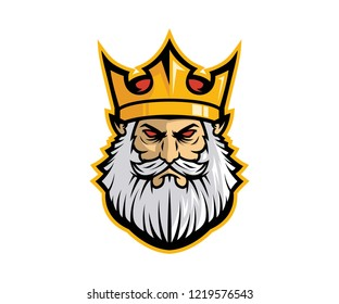 king mascot logo design with color