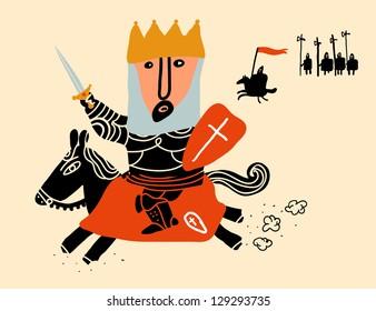 king mount in black horse charging