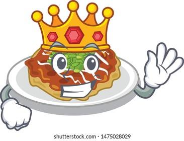 King okonomiyaki is served on cartoon plate