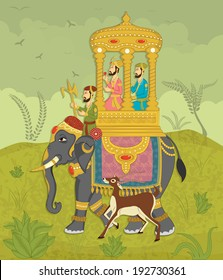 King on elephant ride in Indian art style