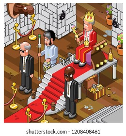 King on throne in a medieval castle with imperial insignia, guarded by security guards and doorman, set in a medieval castle (vector illustration)