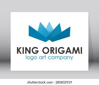 King origami blue art logo element vector design template symbol shape icon