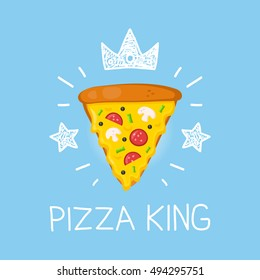 King pizza vector cartoon flat and doodle illustration. Crown and stars icon. Pizzeria concept design
