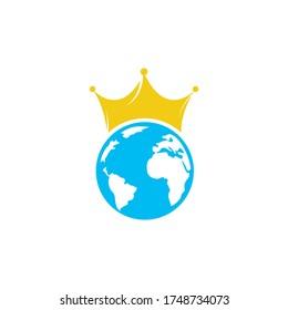 King Planet Vector Logo Design. Globe King Logo Icon Design.