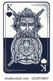 King playing card tattoo and t-shirt design. Viking and bear. Gothic symbol of gamblings, tarot cards, success and defeat, casino, poker