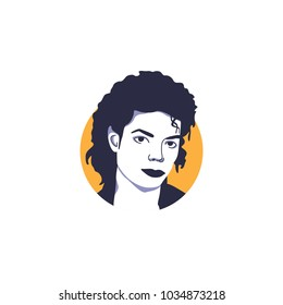 King of pop, Michael Jackson face vector illustration isolated with simple orange circle background