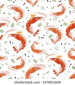 King prawns with spicy herbs. Seafood. Seamless pattern. Background image with shrimps for the thematic site, textile, bar, restaurant, seafood store, packaging design.